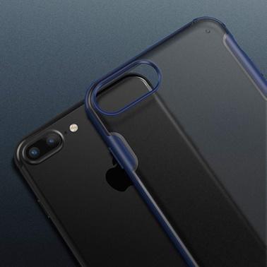 Microsonic Apple iPhone 8 Plus Kılıf Frosted Frame Siyah Siyah